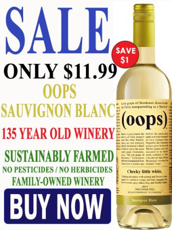 Buy OOPS White Sauvignon Blanc sustainably farmed