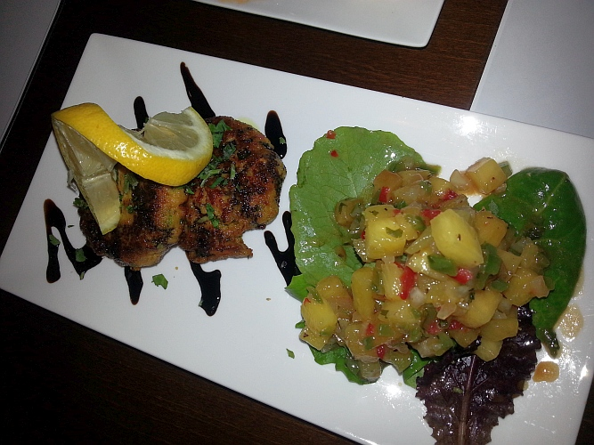Wild Salmon Cake, Pineapple salsa, pomegranate vinaigrette and ...